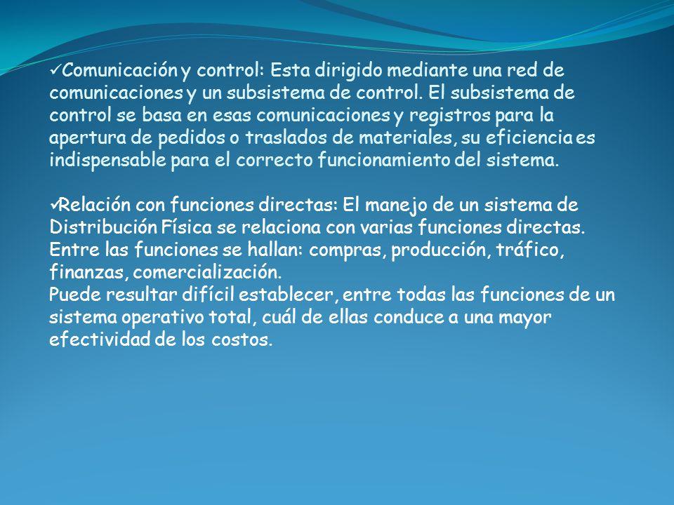 Comunicación y control: Esta dirigido mediante una red de comunicaciones y un subsistema de control. El subsistema de control se basa en esas comunica