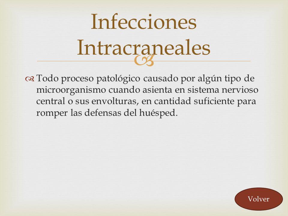 Todo proceso patológico causado por algún tipo de microorganismo cuando asienta en sistema nervioso central o sus envolturas, en cantidad suficiente p