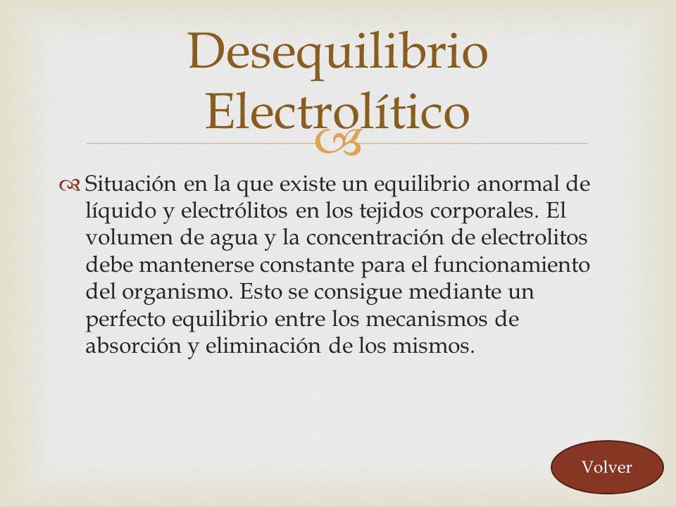 Situación en la que existe un equilibrio anormal de líquido y electrólitos en los tejidos corporales. El volumen de agua y la concentración de electro