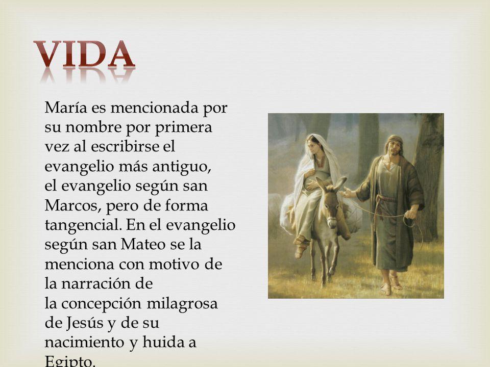 María es mencionada por su nombre por primera vez al escribirse el evangelio más antiguo, el evangelio según san Marcos, pero de forma tangencial. En