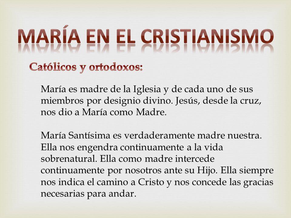 María es madre de la Iglesia y de cada uno de sus miembros por designio divino. Jesús, desde la cruz, nos dio a María como Madre. María Santísima es v
