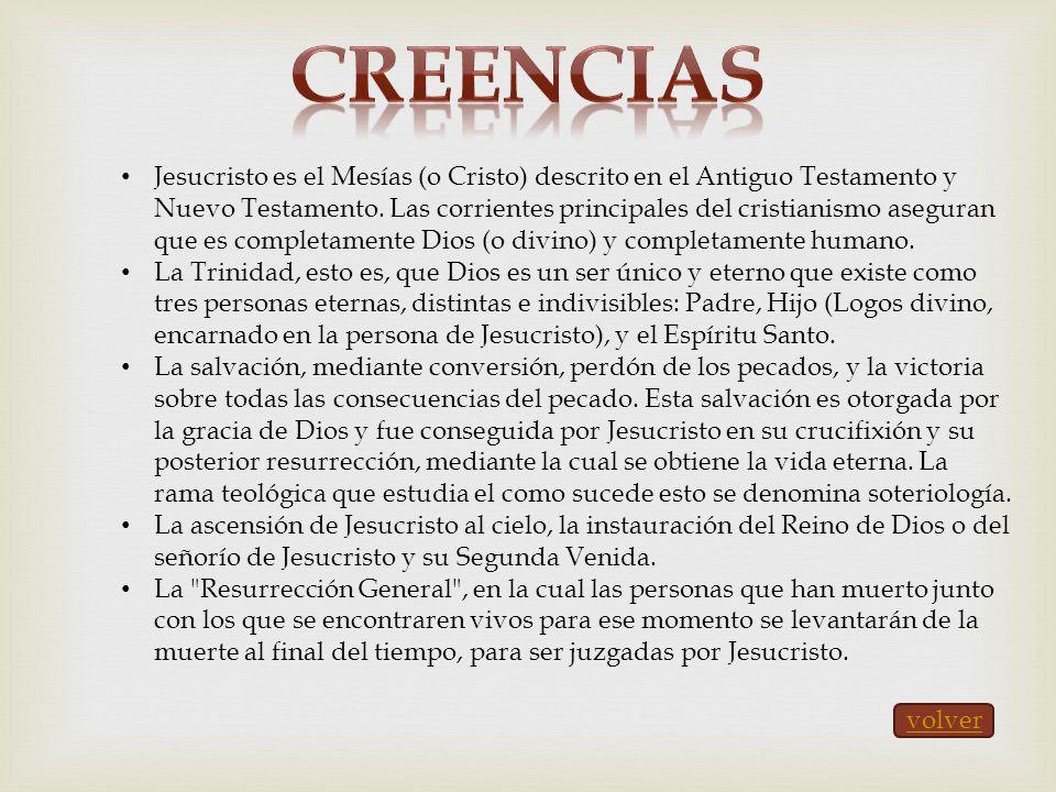 Jesucristo es el Mesías (o Cristo) descrito en el Antiguo Testamento y Nuevo Testamento. Las corrientes principales del cristianismo aseguran que es c