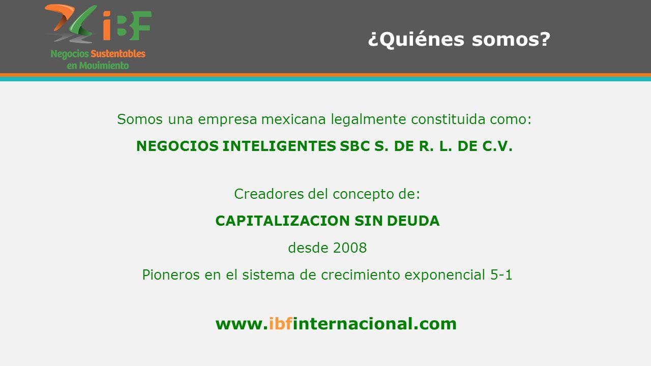 Creadores del concepto de: CAPITALIZACION SIN DEUDA desde 2008 Pioneros en el sistema de crecimiento exponencial 5-1 ¿Quiénes somos.