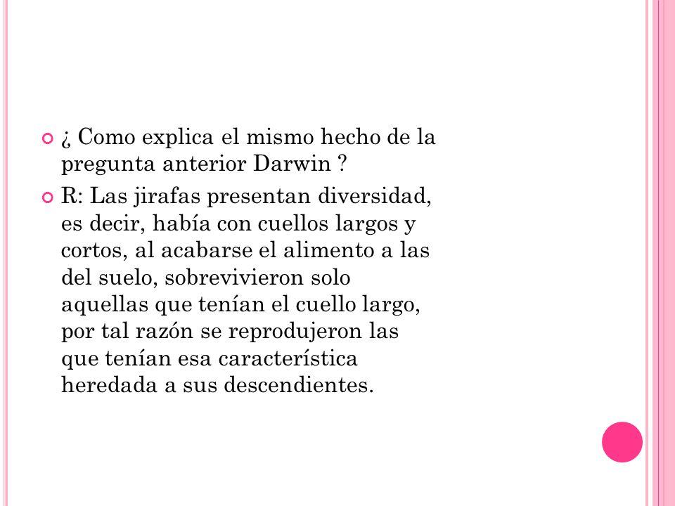 ¿ Como explica el mismo hecho de la pregunta anterior Darwin ? R: Las jirafas presentan diversidad, es decir, había con cuellos largos y cortos, al ac