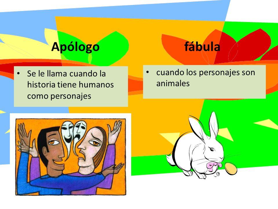 Apólogo Se le llama cuando la historia tiene humanos como personajes fábula cuando los personajes son animales