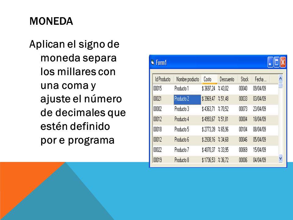 Aplican el signo de moneda separa los millares con una coma y ajuste el número de decimales que estén definido por e programa MONEDA