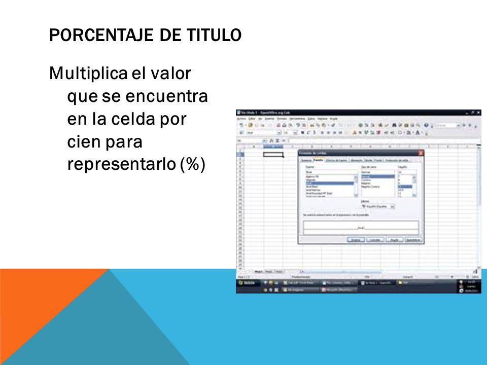 Multiplica el valor que se encuentra en la celda por cien para representarlo (%) PORCENTAJE DE TITULO