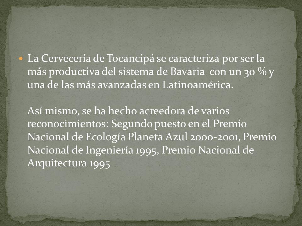 La Cervecería de Tocancipá se caracteriza por ser la más productiva del sistema de Bavaria con un 30 % y una de las más avanzadas en Latinoamérica. As