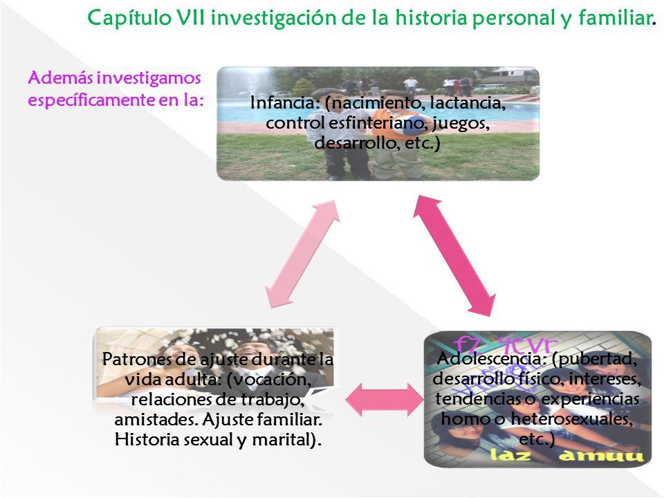 Capítulo VII investigación de la historia personal y familiar. Además investigamos específicamente en la: Infancia: (nacimiento, lactancia, control es