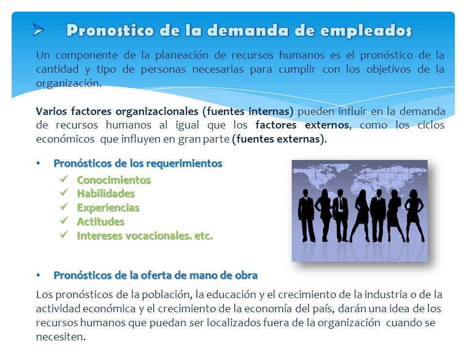 Un componente de la planeación de recursos humanos es el pronóstico de la cantidad y tipo de personas necesarias para cumplir con los objetivos de la organización.