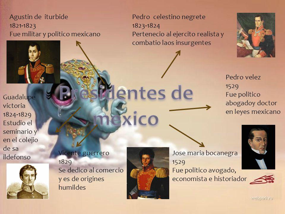 Agustin de iturbide 1821-1823 Fue militar y politico mexicano Pedro celestino negrete 1823-1824 Pertenecio al ejercito realista y combatio laos insurg