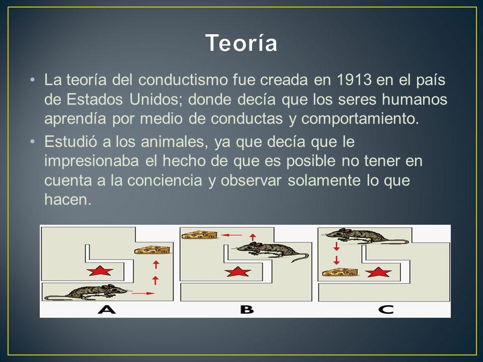 La teoría del conductismo fue creada en 1913 en el país de Estados Unidos; donde decía que los seres humanos aprendía por medio de conductas y comportamiento.