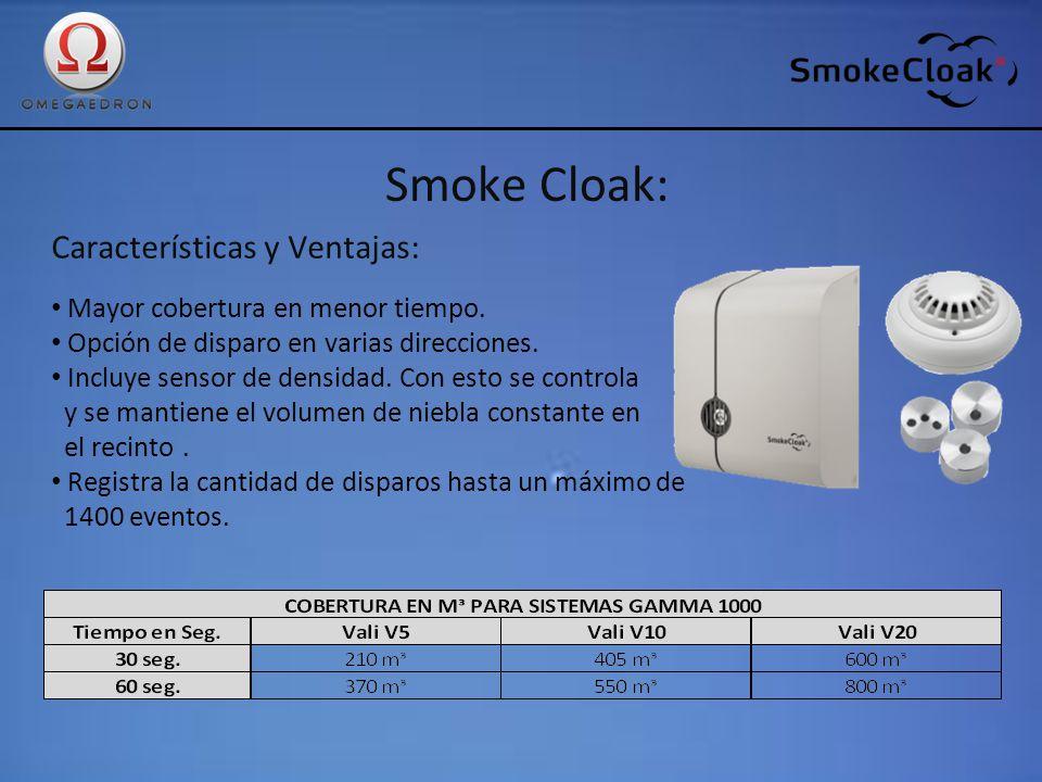 Smoke Cloak: Características y Ventajas: Mayor cobertura en menor tiempo. Opción de disparo en varias direcciones. Incluye sensor de densidad. Con est