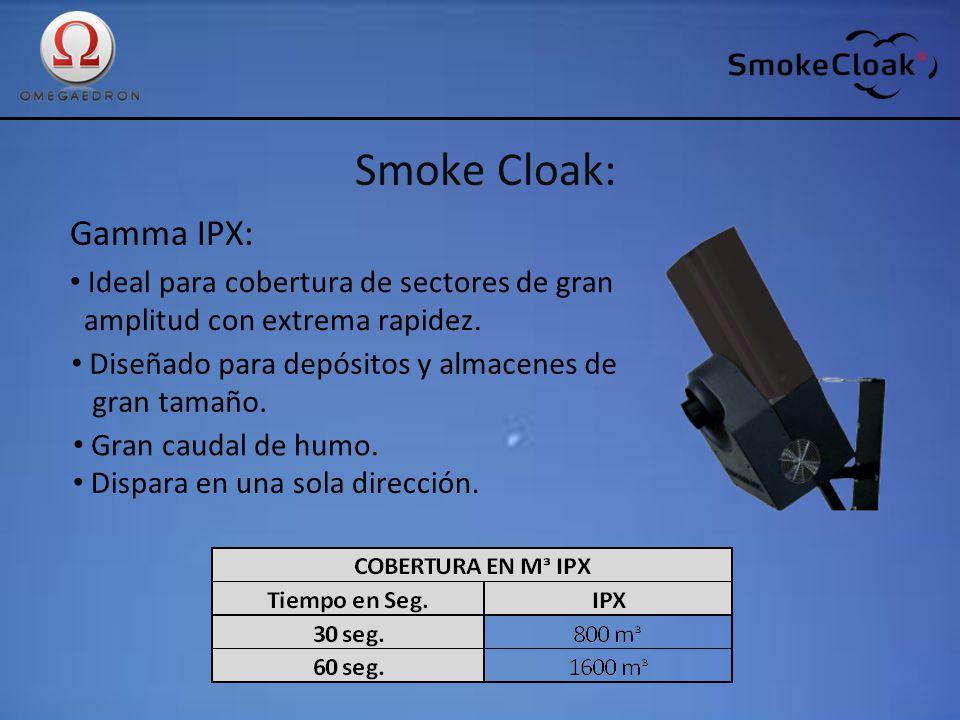 Smoke Cloak: Gamma IPX: Ideal para cobertura de sectores de gran amplitud con extrema rapidez. Diseñado para depósitos y almacenes de gran tamaño. Gra
