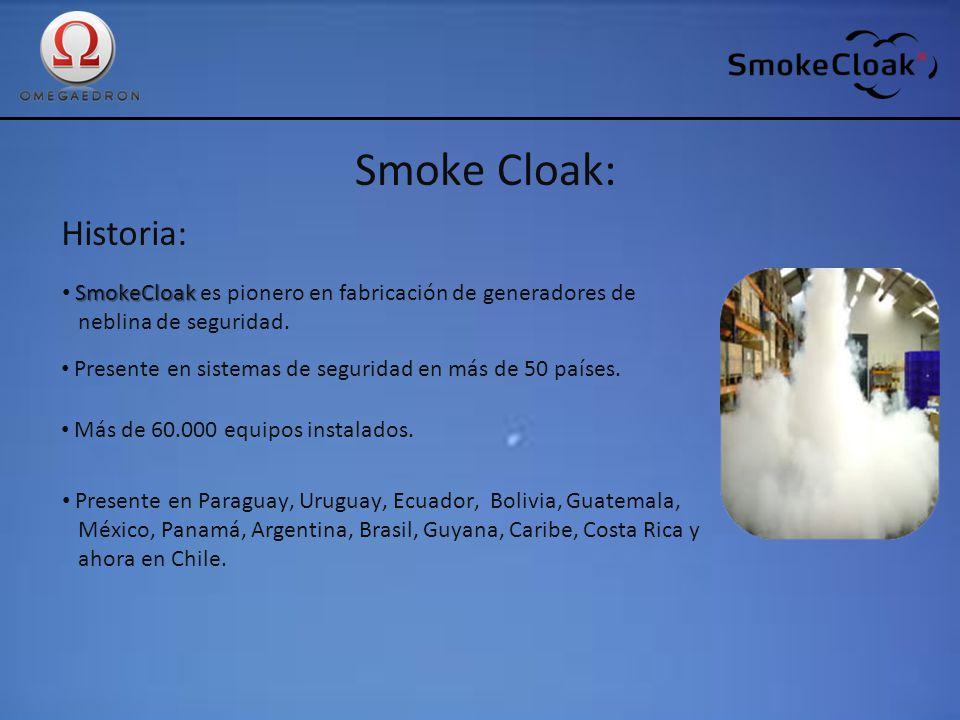 Smoke Cloak: Historia: SmokeCloak SmokeCloak es pionero en fabricación de generadores de neblina de seguridad. Presente en sistemas de seguridad en má
