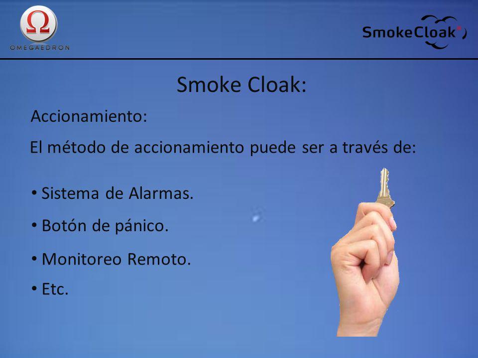 Smoke Cloak: Accionamiento: El método de accionamiento puede ser a través de: Sistema de Alarmas. Botón de pánico. Monitoreo Remoto. Etc.
