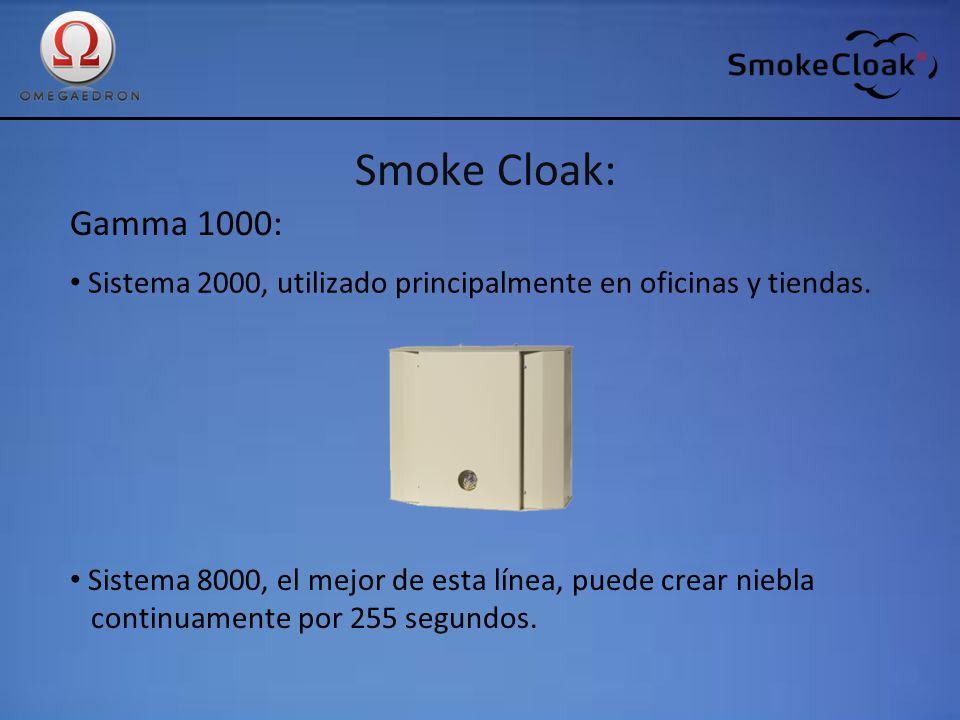 Smoke Cloak: Gamma 1000: Sistema 2000, utilizado principalmente en oficinas y tiendas. Sistema 8000, el mejor de esta línea, puede crear niebla contin