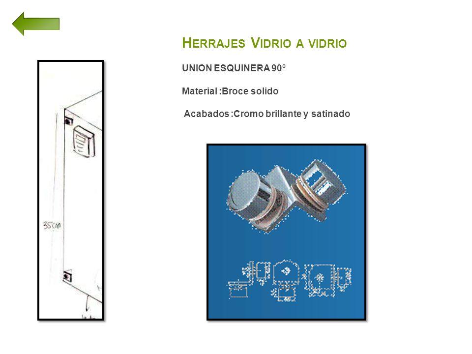 H ERRAJES V IDRIO A VIDRIO UNION ESQUINERA 90º Material :Broce solido Acabados :Cromo brillante y satinado
