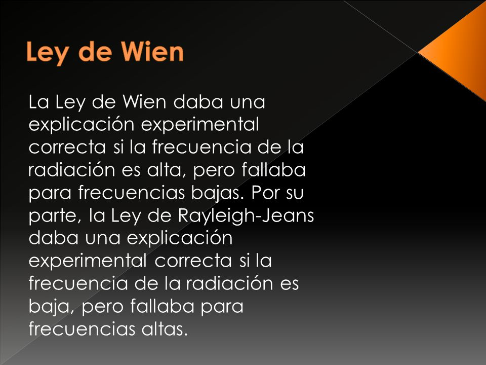 La Ley de Wien daba una explicación experimental correcta si la frecuencia de la radiación es alta, pero fallaba para frecuencias bajas. Por su parte,