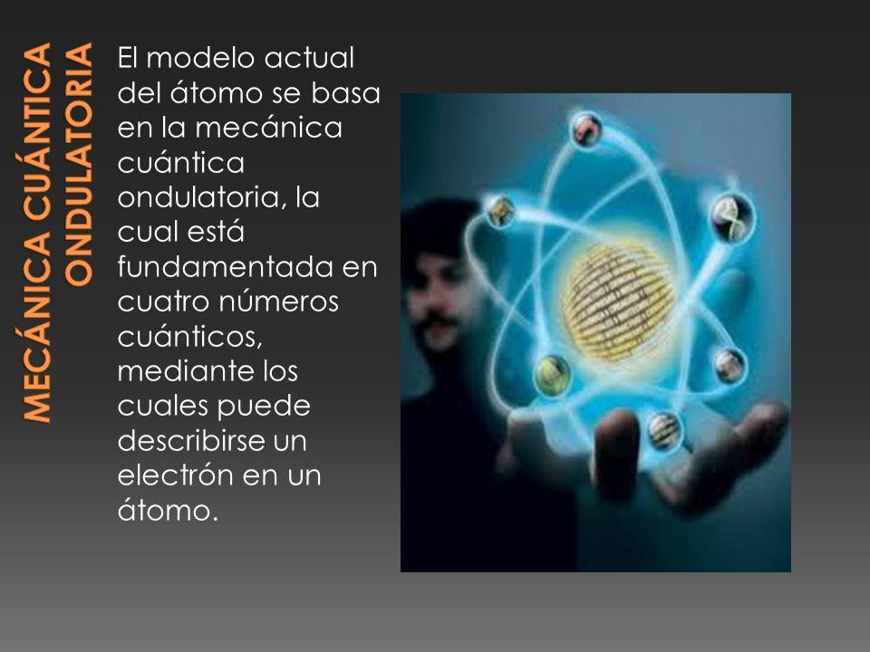 El modelo actual del átomo se basa en la mecánica cuántica ondulatoria, la cual está fundamentada en cuatro números cuánticos, mediante los cuales puede describirse un electrón en un átomo.