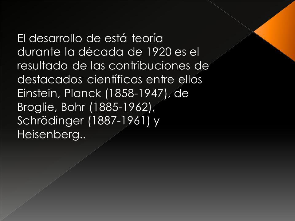 El desarrollo de está teoría durante la década de 1920 es el resultado de las contribuciones de destacados científicos entre ellos Einstein, Planck (1858-1947), de Broglie, Bohr (1885-1962), Schrödinger (1887-1961) y Heisenberg..