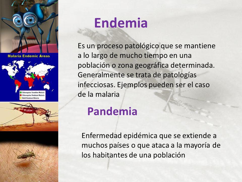 Endemia Es un proceso patológico que se mantiene a lo largo de mucho tiempo en una población o zona geográfica determinada. Generalmente se trata de p