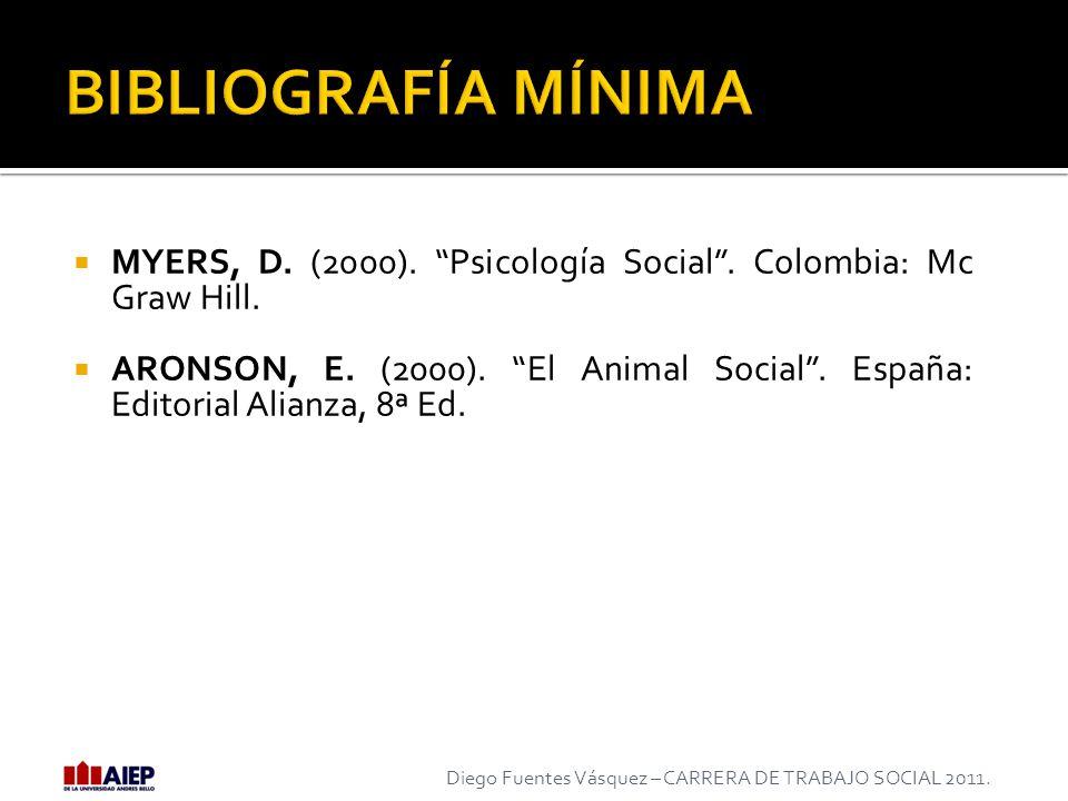 MYERS, D. (2000). Psicología Social. Colombia: Mc Graw Hill. ARONSON, E. (2000). El Animal Social. España: Editorial Alianza, 8ª Ed. Diego Fuentes Vás