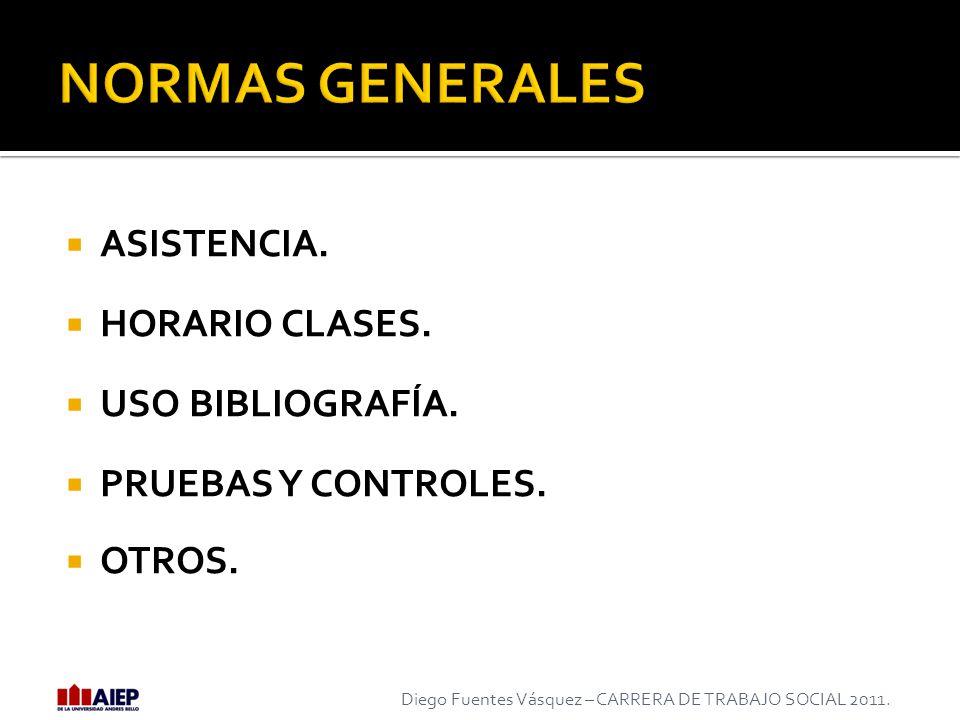 ASISTENCIA. HORARIO CLASES. USO BIBLIOGRAFÍA. PRUEBAS Y CONTROLES. OTROS. Diego Fuentes Vásquez – CARRERA DE TRABAJO SOCIAL 2011.