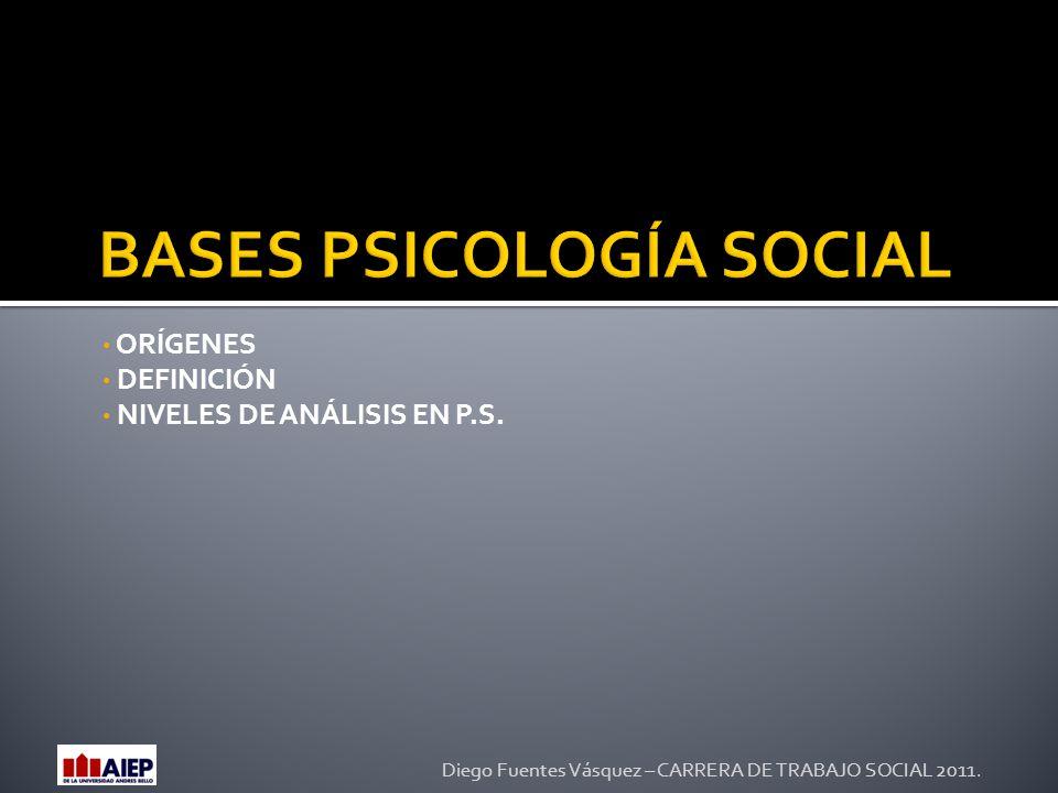 ORÍGENES DEFINICIÓN NIVELES DE ANÁLISIS EN P.S. Diego Fuentes Vásquez – CARRERA DE TRABAJO SOCIAL 2011.