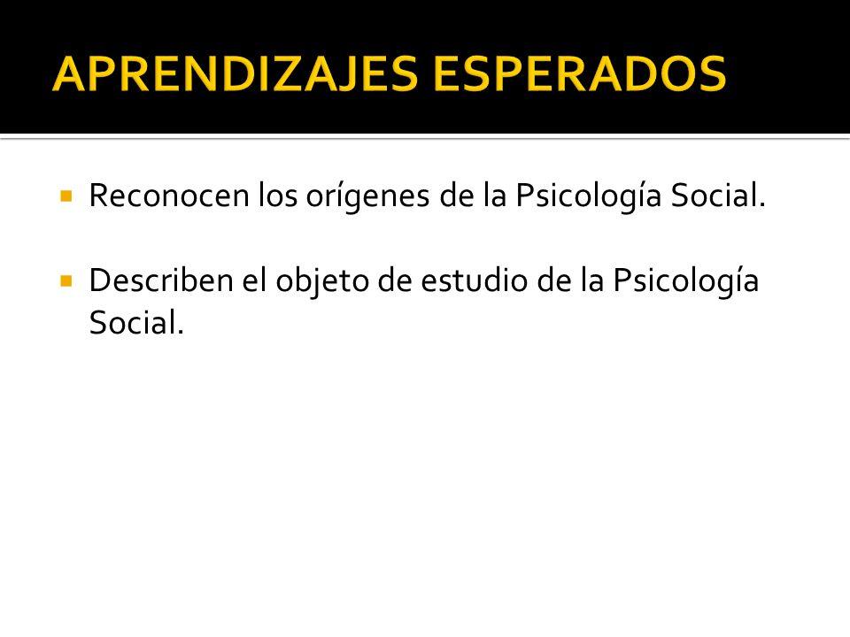 Reconocen los orígenes de la Psicología Social. Describen el objeto de estudio de la Psicología Social.