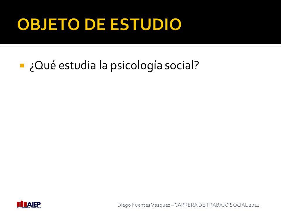 ¿Qué estudia la psicología social? Diego Fuentes Vásquez – CARRERA DE TRABAJO SOCIAL 2011.