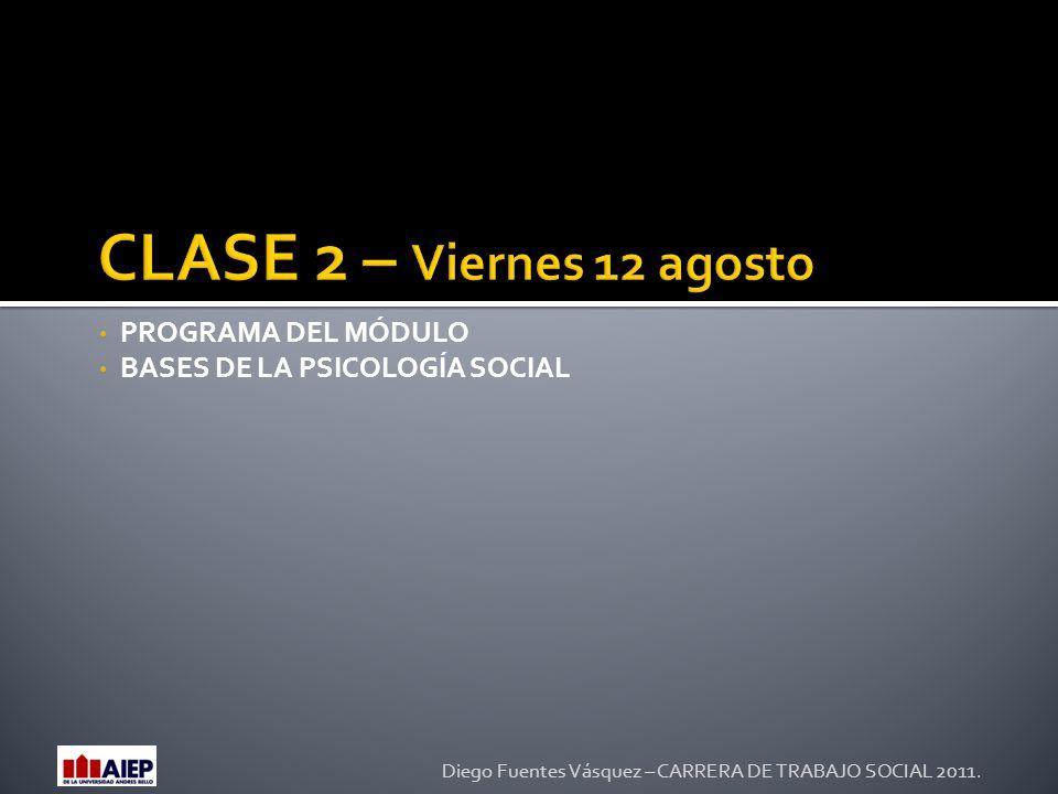 PROGRAMA DEL MÓDULO BASES DE LA PSICOLOGÍA SOCIAL Diego Fuentes Vásquez – CARRERA DE TRABAJO SOCIAL 2011.