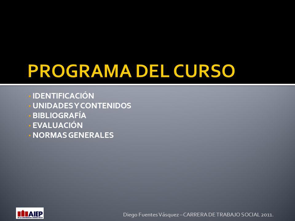 IDENTIFICACIÓN UNIDADES Y CONTENIDOS BIBLIOGRAFÍA EVALUACIÓN NORMAS GENERALES Diego Fuentes Vásquez – CARRERA DE TRABAJO SOCIAL 2011.