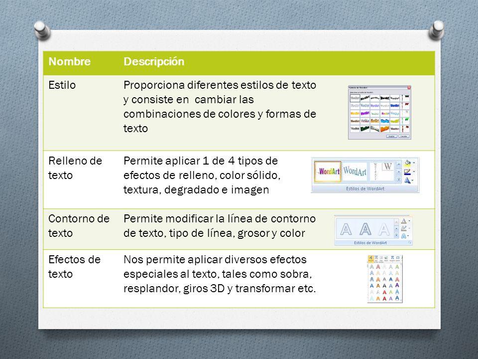 NombreDescripción EstiloProporciona diferentes estilos de texto y consiste en cambiar las combinaciones de colores y formas de texto Relleno de texto