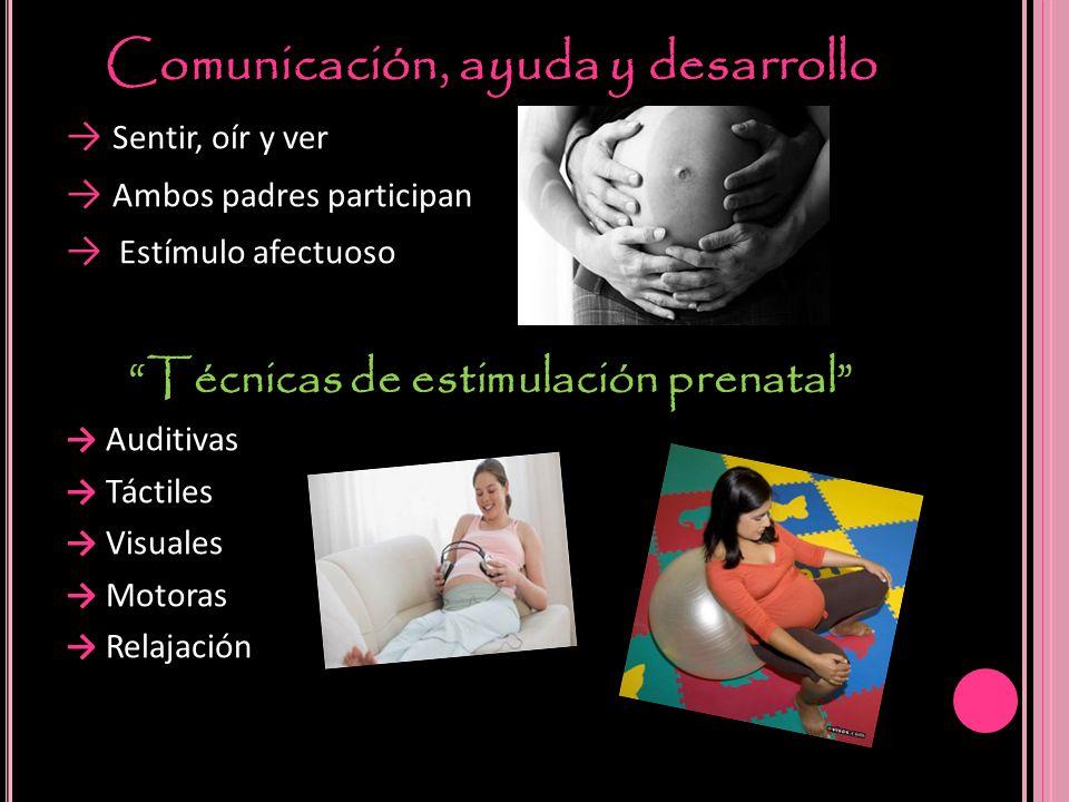 Comunicación, ayuda y desarrollo Sentir, oír y ver Ambos padres participan Estímulo afectuoso Técnicas de estimulación prenatal Auditivas Táctiles Vis