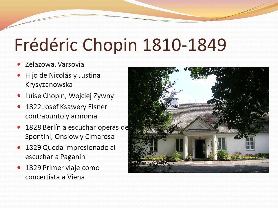 Zelazowa, Varsovia Hijo de Nicolás y Justina Krysyzanowska Luise Chopin, Wojciej Zywny 1822 Josef Ksawery Elsner contrapunto y armonía 1828 Berlín a e