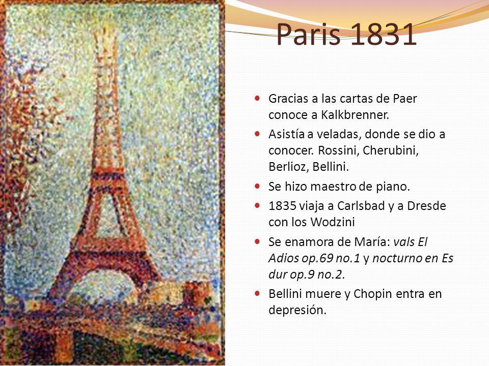 Paris 1831 Gracias a las cartas de Paer conoce a Kalkbrenner. Asistía a veladas, donde se dio a conocer. Rossini, Cherubini, Berlioz, Bellini. Se hizo