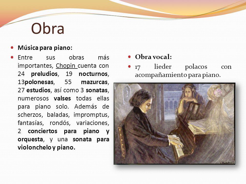 Obra Música para piano: Entre sus obras más importantes, Chopin cuenta con 24 preludios, 19 nocturnos, 13polonesas, 55 mazurcas, 27 estudios, así como