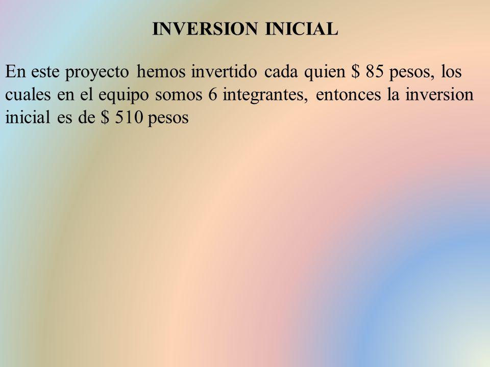 INVERSION INICIAL En este proyecto hemos invertido cada quien $ 85 pesos, los cuales en el equipo somos 6 integrantes, entonces la inversion inicial es de $ 510 pesos