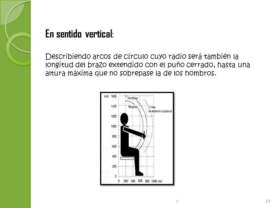 En sentido vertical : Describiendo arcos de círculo cuyo radio será también la longitud del brazo extendido con el puño cerrado, hasta una altura máxi