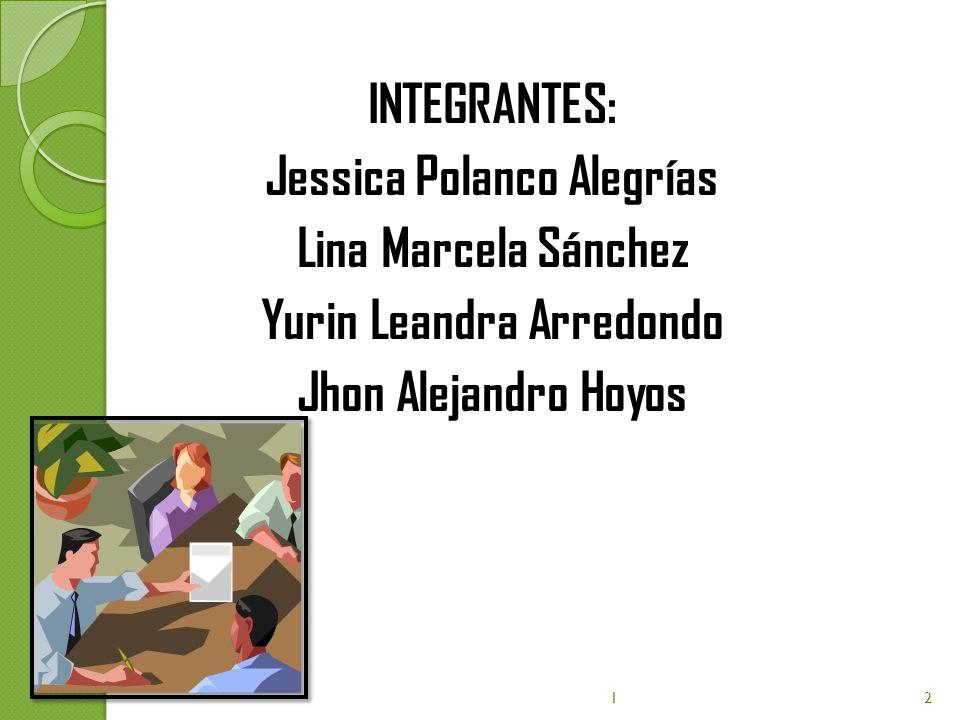 INTEGRANTES: Jessica Polanco Alegrías Lina Marcela Sánchez Yurin Leandra Arredondo Jhon Alejandro Hoyos 12
