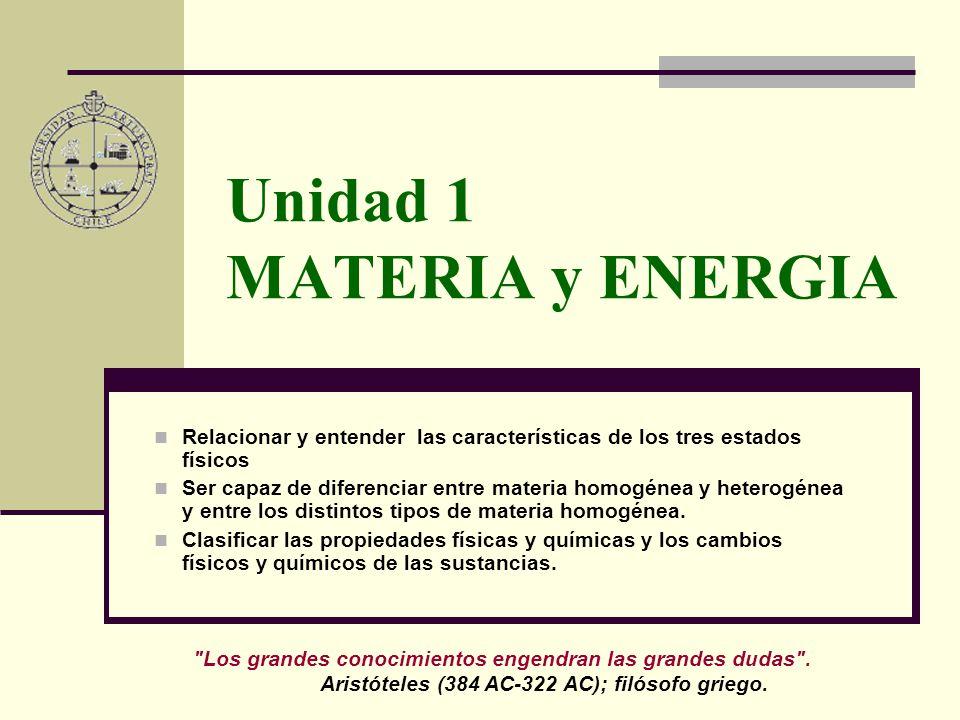 Unidad 1 MATERIA y ENERGIA Relacionar y entender las características de los tres estados físicos Ser capaz de diferenciar entre materia homogénea y heterogénea y entre los distintos tipos de materia homogénea.