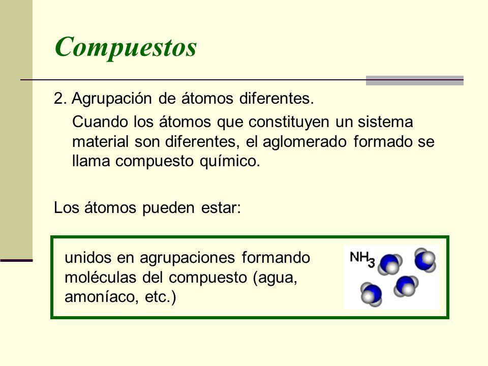 Compuestos 2. Agrupación de átomos diferentes. Cuando los átomos que constituyen un sistema material son diferentes, el aglomerado formado se llama co