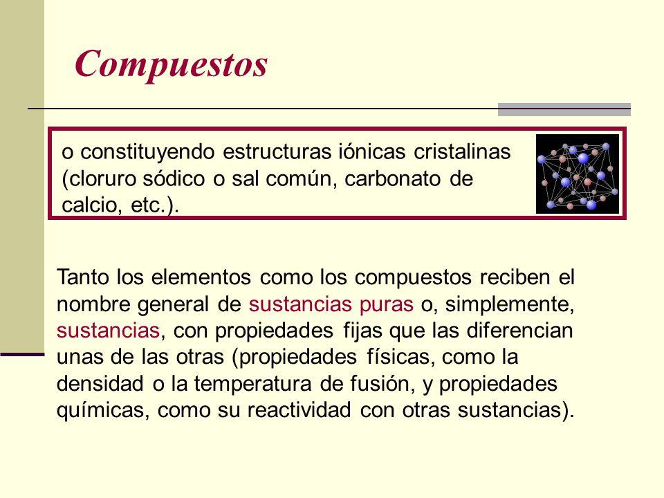 Compuestos o constituyendo estructuras iónicas cristalinas (cloruro sódico o sal común, carbonato de calcio, etc.). Tanto los elementos como los compu