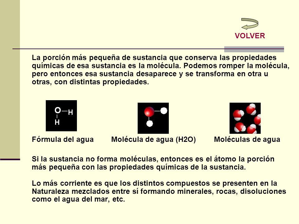 La porción más pequeña de sustancia que conserva las propiedades químicas de esa sustancia es la molécula. Podemos romper la molécula, pero entonces e