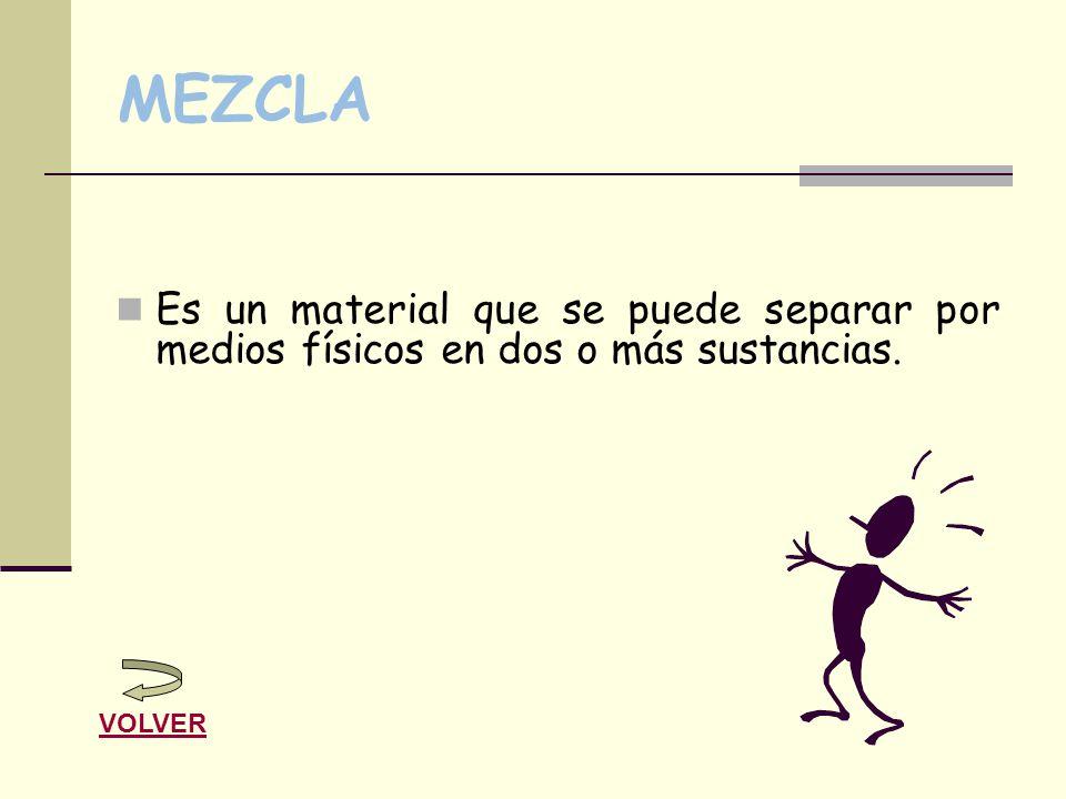 MEZCLA Es un material que se puede separar por medios físicos en dos o más sustancias. VOLVER