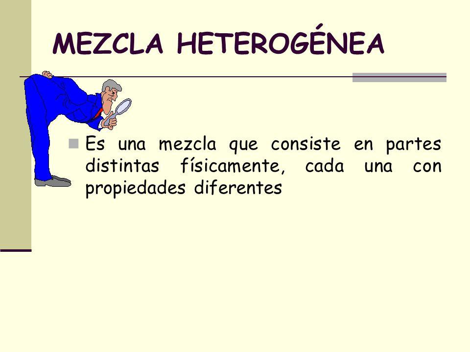 MEZCLA HETEROGÉNEA Es una mezcla que consiste en partes distintas físicamente, cada una con propiedades diferentes