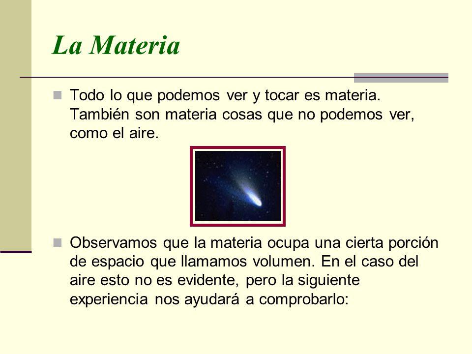 La Materia Todo lo que podemos ver y tocar es materia. También son materia cosas que no podemos ver, como el aire. Observamos que la materia ocupa una
