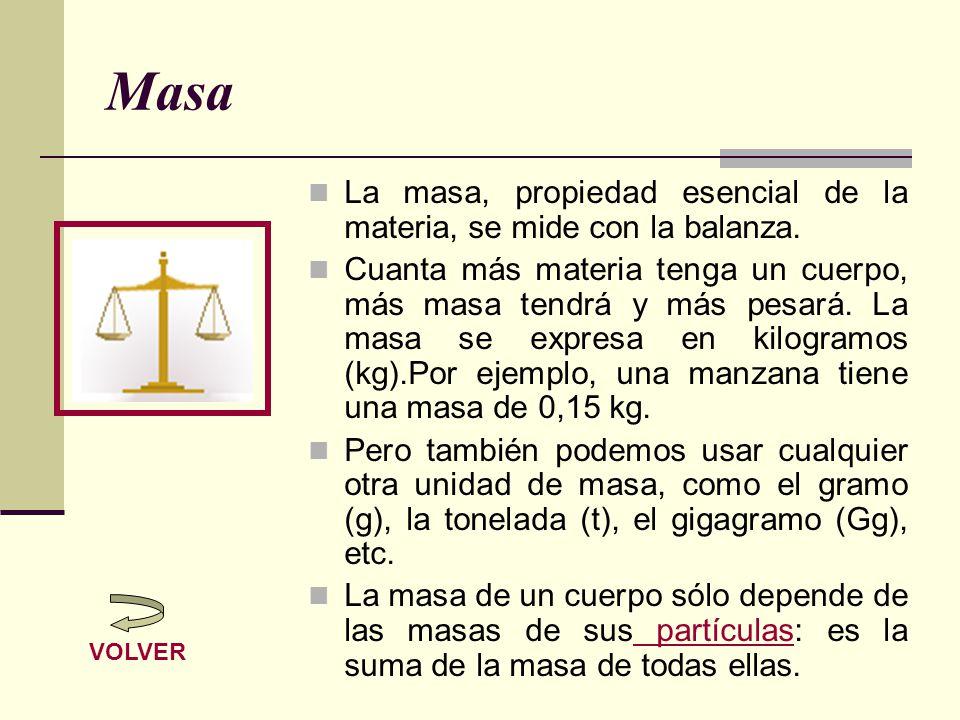 Masa La masa, propiedad esencial de la materia, se mide con la balanza. Cuanta más materia tenga un cuerpo, más masa tendrá y más pesará. La masa se e