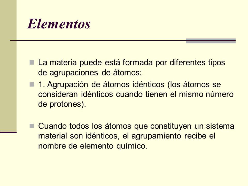 Elementos La materia puede está formada por diferentes tipos de agrupaciones de átomos: 1. Agrupación de átomos idénticos (los átomos se consideran id
